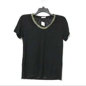 Soprano Black shirt with gold collar Medium NWT